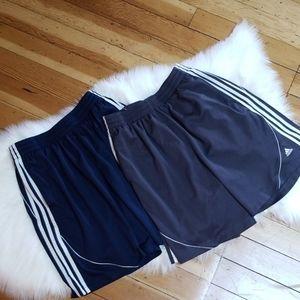 2 pairs Adidas 3 stripes shorts